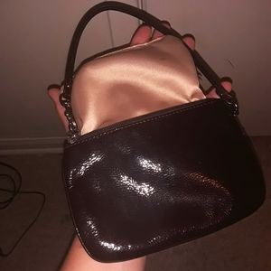 AUTH COACH DARK BROWN PATENT LEATHER WRISTLET BAG!